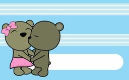 Cute love baby boy and girl teddy bear cartoon background Royalty Free Stock Photography