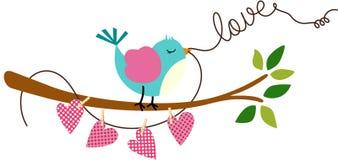 Cute Love Bird on Branch Tree vector illustration