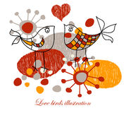 Cute love birds vector illustration