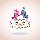 Cute love birds on cloud Royalty Free Stock Images