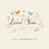 Cute love birds for Happy Valentines Day celebration. Cute love birds couple with text Love You in heart shape for Happy Valentines Day celebration on decorated Stock Images