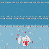 Cute love bunny border pattern with heart Stock Photos