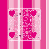 Cute Love Card. Cute card with a striped background and a lovely pattern Stock Photos