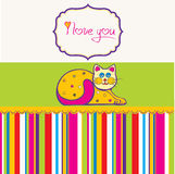 Cute love card with cat Royalty Free Stock Photo