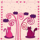 Cute love card with cats Stock Photos