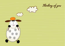 Cute love card with sheep Royalty Free Stock Image