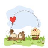 Cute love card with teddy bear Royalty Free Stock Photos