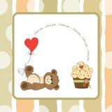 Cute love card with teddy bear Stock Image