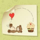 Cute love card with teddy bear Royalty Free Stock Photo