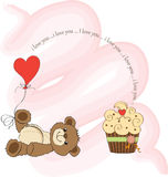 Cute love card with teddy bear Royalty Free Stock Image