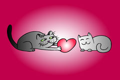 Cute love cats on Valentine`s day vector illustration. Cute Love Cats on Valentine`s Day. Tomcat Gives a Big Red Heart Pussycat on a Date. Romantic Mood. Gift Stock Image