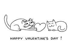Cute love cats vector illustration Stock Image