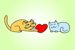 Cute love cats vector illustration. Cute Love Yellow and Blue Colors Cats on Valentine`s Day. Tomcat Gives a Big Red Heart Pussycat on a Date. Romantic Mood Stock Photography