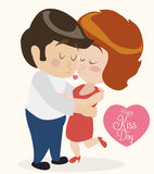 Cute In Love Couple Kissing each other in Retro Style, Vector Illustration Royalty Free Stock Image