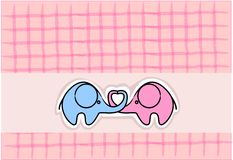 Cute love elephants,vector Stock Images