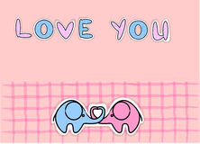 Cute love elephants vector Royalty Free Stock Photos