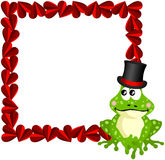 Cute love frog frame Stock Photo