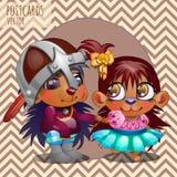 Cute love hedgehogs, vector cartoon series Royalty Free Stock Images