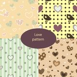 Cute love patterns set with hearts and birds. vector illustration