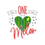 One in a melon happy first birthday girl stock illustration