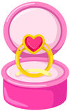 Cute love ring in the pink bo Stock Photos