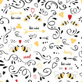 Cute love seamless pattern for valentine day. Vector cute love seamless pattern for Saint Valentine Day. Color cute template with love bee, hearts, doodle Vector Illustration
