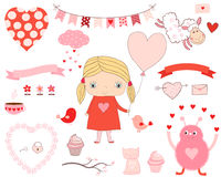 Cute love set with design elements. Little girl with balloon, animals and hearts for Valentine`s day, birthdays and party invitations Stock Image