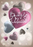 Cute love valentine banner or greeting card. Place for your text. Pink Valentine s Day background with 3d hearts on red. Vector illustration. Cute love valentine Stock Photography