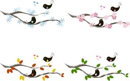 Cute lovebirds on branches, hearts, for seasons. Colorful vector illustration Stock Images