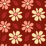 Cute lovely abstract daisy flowers on red background seamless pattern illustration. Cute lovely abstract daisy flowers on red background seamless vector pattern Stock Photo