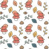 Cute lovely autumn fall seamless vector pattern background illustration with birds, mushroom, leaves, branches, acorns and chestnu. Cute lovely autumn fall stock illustration
