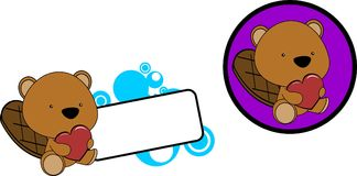 Cute lovely baby beaver cartoon heart set sticker Royalty Free Stock Images