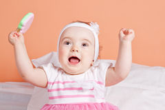 Cute and lovely baby one year having fun. Stock Image