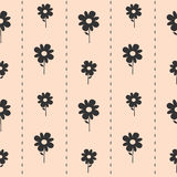 Cute lovely black daisy flowers on pink background seamless pattern illustration Stock Image