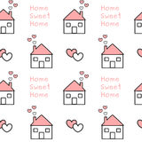 Cute lovely black white pink home sweet home seamless pattern background illustration Stock Photography
