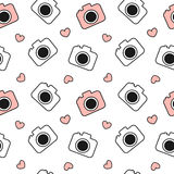 Cute lovely black and white and red camera seamless pattern background illustration Royalty Free Stock Photography