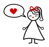 Cute lovely black white red stick figure girl and speech bubble with heart concept vector illustration Stock Photo