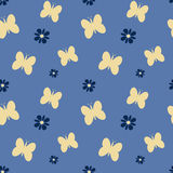 Cute lovely butterflies with daisy flowers seamless pattern background illustration Stock Image
