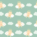 Cute lovely cartoon angel cat flying in the sky seamless pattern background illustration Stock Photography
