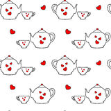 Cute lovely cartoon black white red tea set with hearts seamless pattern background illustration Stock Photography