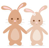 Cute lovely cartoon bunnies rabbits in love romantic illustration Stock Photo