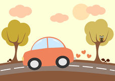 Cute lovely cartoon car driving in the country illustration Royalty Free Stock Photography