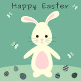 Cute lovely cartoon easter bunny with eggs happy easter greeting card illustration Stock Photo