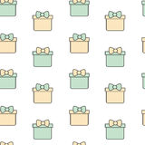 Cute lovely cartoon gift box seamless pattern background illustration Stock Images
