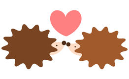 Cute lovely cartoon hedgehog couple in love romantic illustration Stock Images