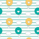 Cute lovely cartoon hot air balloons seamless vector pattern background illustration. Cute lovely cartoon hot air balloons seamless pattern background Royalty Free Stock Photo