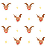 Cute lovely cartoon reindeer seamless pattern background illustration Royalty Free Stock Photo