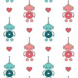 Cute lovely cartoon robots in love seamless vector pattern background illustration. Cute lovely cartoon robots in love seamless pattern background illustration Royalty Free Stock Photography
