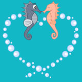 Cute lovely cartoon seahorses in love romantic illustration Royalty Free Stock Image