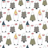 Cute lovely cartoon seamless vector pattern background illustration with gnomes, trees with snow and mushrooms. Cute lovely cartoon seamless pattern background Stock Photos